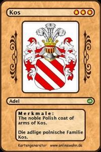 Cover The noble Polish coat of arms of Kos. Die adlige polnische Familie Kos.