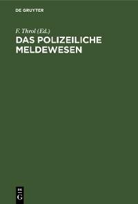 Cover Das polizeiliche Meldewesen