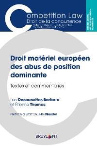 Cover Droit matériel européen des abus de position dominante
