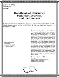 Cover Handbook of Consumer Behavior, Tourism, and the Internet