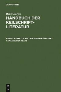 Cover Repertorium der sumerischen und akkadischen Texte