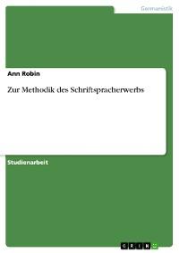 Cover Zur Methodik des Schriftspracherwerbs