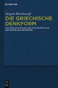 Cover Die griechische Denkform