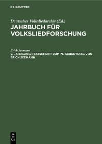 Cover Festschrift zum 75. Geburtstag von Erich Seemann