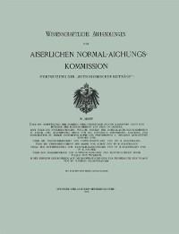 Cover Wissenschaftliche Abhandlungen der Kaiserlichen Normal-Aichungs-Kommission