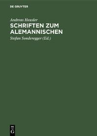 Cover Schriften zum Alemannischen