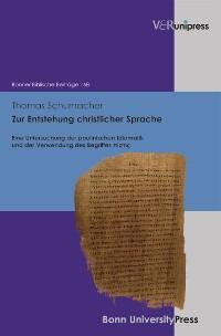 Cover Zur Entstehung christlicher Sprache