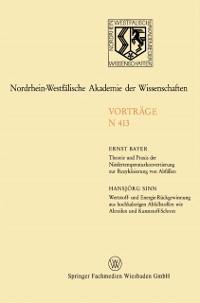 Cover Theorie und Praxis der Niedertemperaturkonvertierung zur Rezyklisierung von Abfallen. Wertstoff- und Energie-Ruckgewinnung aus hochkalorigen Abfallstoffen wie Altreifen und Kunststoff-Schrott