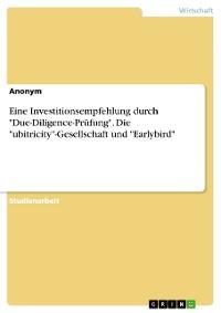 """Cover Eine Investitionsempfehlung durch """"Due-Diligence-Prüfung"""". Die """"ubitricity""""-Gesellschaft und """"Earlybird""""."""