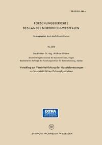 Cover Vorschlag zur Vereinheitlichung der Hauptabmessungen an handelsublichen Zahnradgetrieben