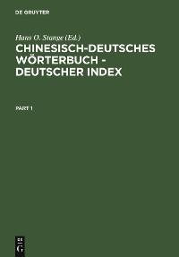 Cover Chinesisch-Deutsches Wörterbuch - Deutscher Index