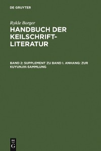 Cover Supplement zu Band I. Anhang: Zur Kuyunjik-Sammlung
