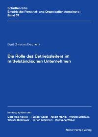 Cover Die Rolle des Betriebsleiters im mittelständischen Unternehmen