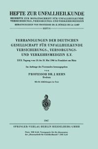 Cover Verhandlungen der Deutschen Gesellschaft fur Unfallheilkunde Versicherungs-, Versorgungs- und Verkehrsmedizin e.V.