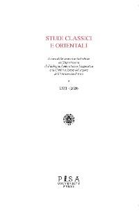 Cover Studi Classici e Orientali LXVI 2020