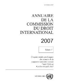 Cover Annuaire de la Commission du Droit International 2007, Vol. I