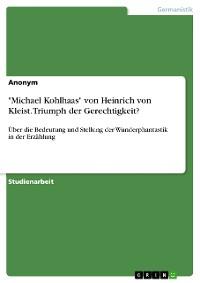"""Cover """"Michael Kohlhaas"""" von Heinrich von Kleist. Triumph der Gerechtigkeit?"""