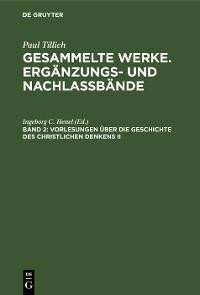 Cover Vorlesungen über die Geschichte des christlichen Denkens II