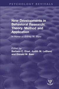 Cover New Developments in Behavioral Research: Theory, Method and Application