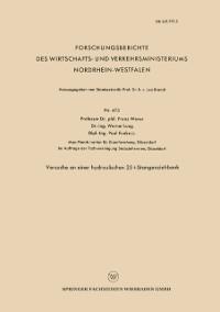 Cover Versuche an einer hydraulischen 25 t-Stangenziehbank