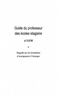 Cover GUIDE DU PROFESSEUR DES ECOLESSTAGIAIRE
