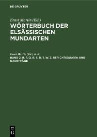 Cover B. P. Q. R. S. D. T. W. Z. Berichtigungen und Nachträge