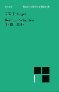Cover Berliner Schriften (1818-1831)
