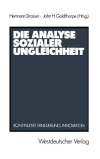 Cover Die Analyse sozialer Ungleichheit