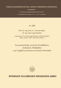 Cover Zusammenhange zwischen Einzelfehlern, Einflanken-Walzfehler und Tragbild evolventenverzahnter Stirnrader