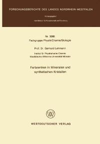 Cover Farbzentren in Mineralen und synthetischen Kristallen