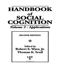 Cover Handbook of Social Cognition
