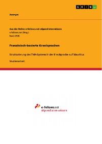 Cover Französisch-basierte Kreolsprachen