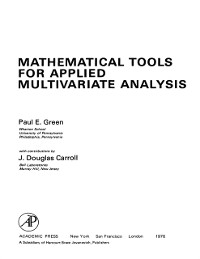 Cover Mathematical Tools for Applied Multivariate Analysis