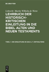 Cover Die Einleitung in das A. T. enthaltend