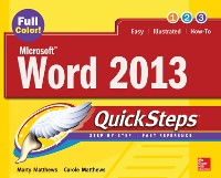 Cover Microsoft  Word 2013 QuickSteps