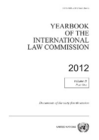 Cover Yearbook of the International Law Commission 2012, Vol. II, Part 1