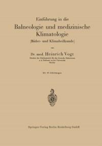 Cover Einfuhrung in die Balneologie und medizinische Klimatologie