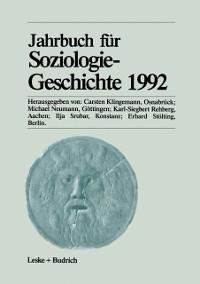 Cover Jahrbuch fur Soziologiegeschichte 1992