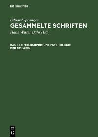 Cover Philosophie und Psychologie der Religion