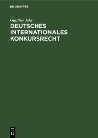 Cover Deutsches Internationales Konkursrecht