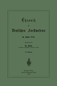 Cover Chronik des Deutschen Forstwesens im Jahre 1883