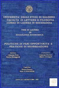 """Cover  Tesi: """"Politiche di pari opportunità e pratiche di segregazione"""""""