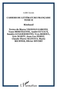 Cover Cahiers de Litterature Francaise Tome II