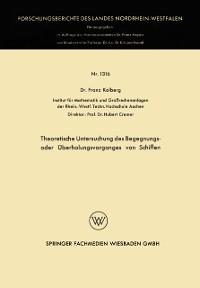 Cover Theoretische Untersuchung des Begegnungs- oder Uberholungsvorganges von Schiffen