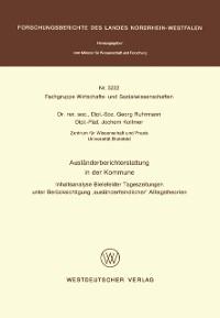 Cover Auslanderberichterstattung in der Kommune