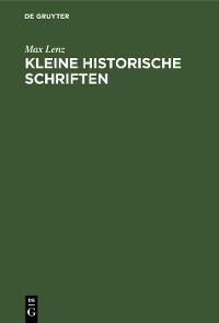 Cover Kleine historische Schriften
