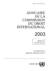 Cover Annuaire de la commission du droit international 2003, Vol. II, Partie 1