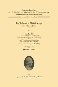 Cover Die Tollwut in Mitteleuropa von 1953 bis 1966