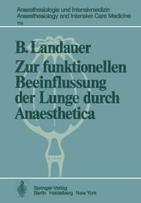 Cover Zur funktionellen Beeinflussung der Lunge durch Anaesthetica