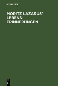 Cover Moritz Lazarus' Lebenserinnerungen